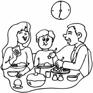 Happy Family Dinner coloring page