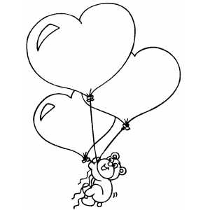 Valentines  Heart Coloring Pages on Bear With Heart Balloons Coloring Page