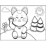 Waving Cat with Bell Collar