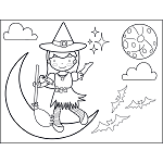 Witch and Broom on Moon