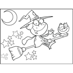 Witch and Cat on Broomstick