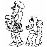 Bagpipe Player With Kids