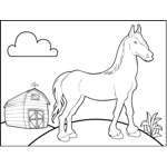 Horse by Barn