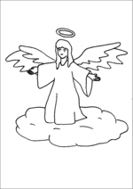 Angel With Halo On Cloud