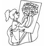 Girl Drawing Vase With Flowers