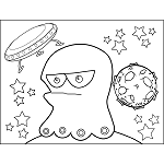 Frowning Space Alien with Flying Saucer
