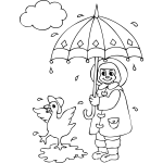 Duck and Girl in Rain