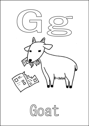 G is for Goat coloring page
