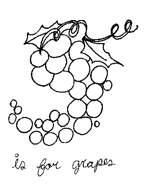 G is for Grapes Coloring Page