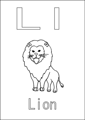 L is for Lion coloring page