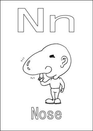 N is for Nose coloring page