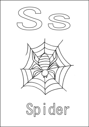 S is for Spider coloring page
