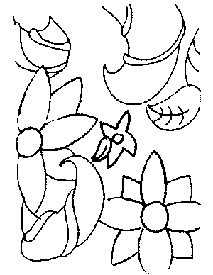 Abstract Flowers Coloring Page