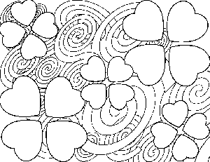 Abstract Heart Flowers coloring page