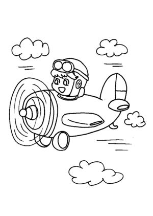 Boy Flying Airplane coloring page