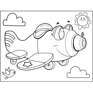 Cute Gunner Plane coloring page