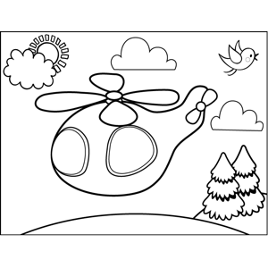 Cute Helicopter coloring page