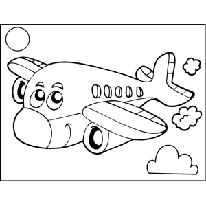 Cute Plane coloring page