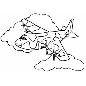 Flying Military Plane coloring page