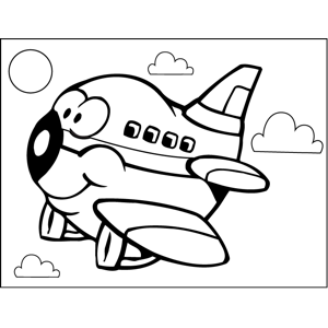 Happy Airplane coloring page