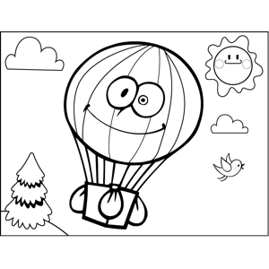 Happy Hot Air Balloon coloring page