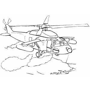 Helicopter In Clouds coloring page