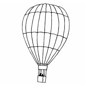 Hot Air Balloon With Two Men coloring page