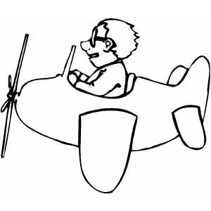 Man On Small Plane coloring page