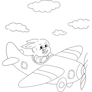 Rabbit in Plane coloring page