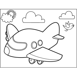 Short Plane coloring page