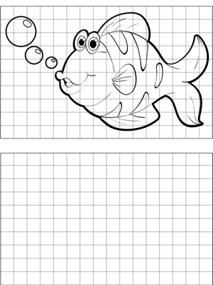 Curious Fish Drawing coloring page