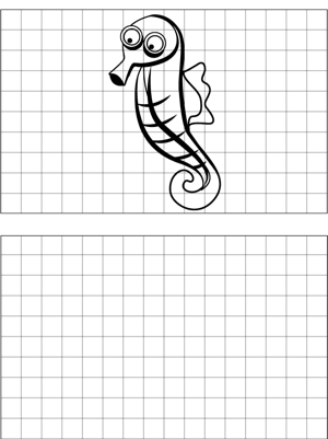 Curious Seahorse Drawing coloring page