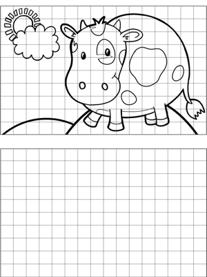 Happy Cow Drawing coloring page
