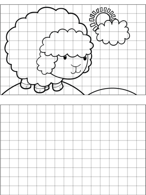 Happy Sheep Drawing coloring page