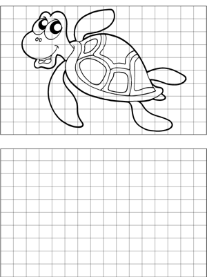 Happy Turtle Drawing coloring page