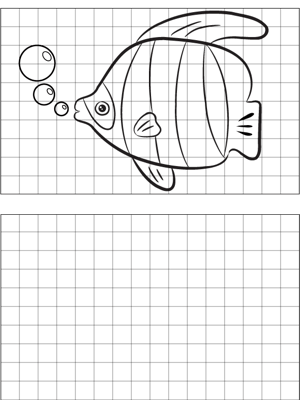 Striped Fish Drawing coloring page