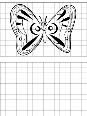 Surprised Butterfly Drawing coloring page