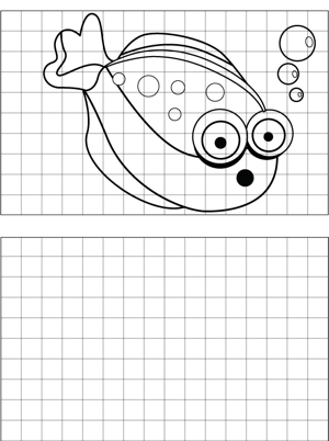 Surprised Fish Drawing coloring page