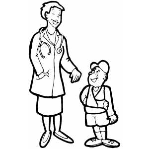 Doctor And Boy With Broken Arm coloring page