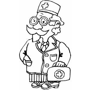 Doctor With Medical Kit coloring page