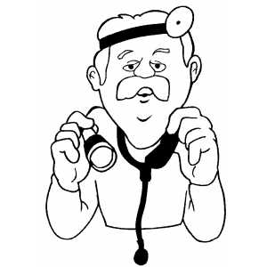 Doctor With Stethoscope coloring page