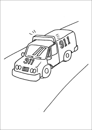Emergency Rescue Vehicle coloring page