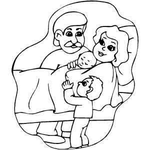 Family With Newborn coloring page