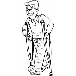 Man With Broken Leg coloring page