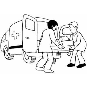 Medical Workers Putting Patient Into Ambulance coloring page