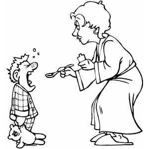 Mom Giving Medicine To Son coloring page