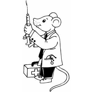 Mouse Doctor With Needle coloring page