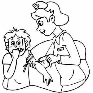 Nurse Giving Shot To Scared Boy coloring page