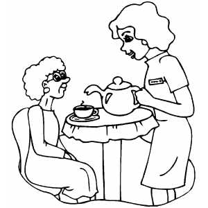Nurse Making Tea For Old Woman coloring page