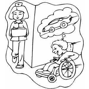 Playing On Wheelchair coloring page